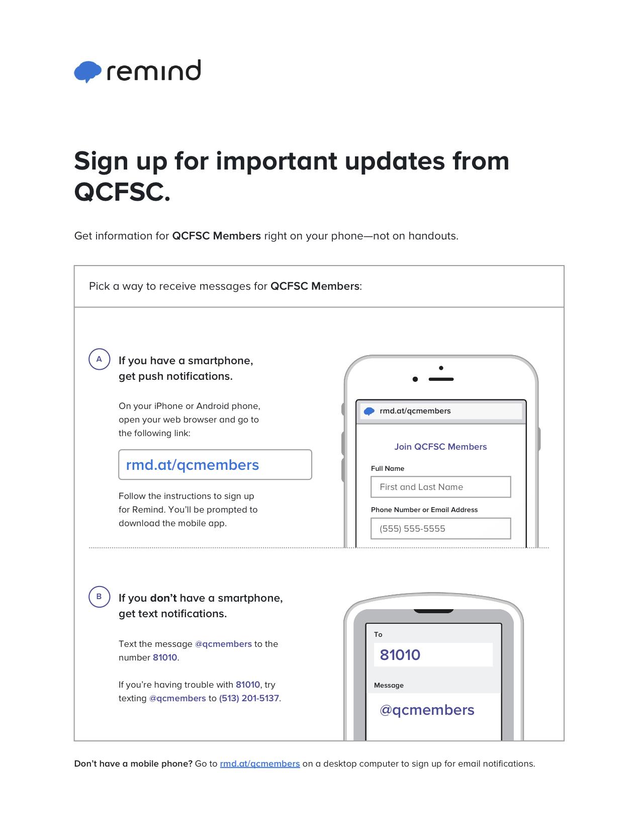 QCFSC Reminder Signup