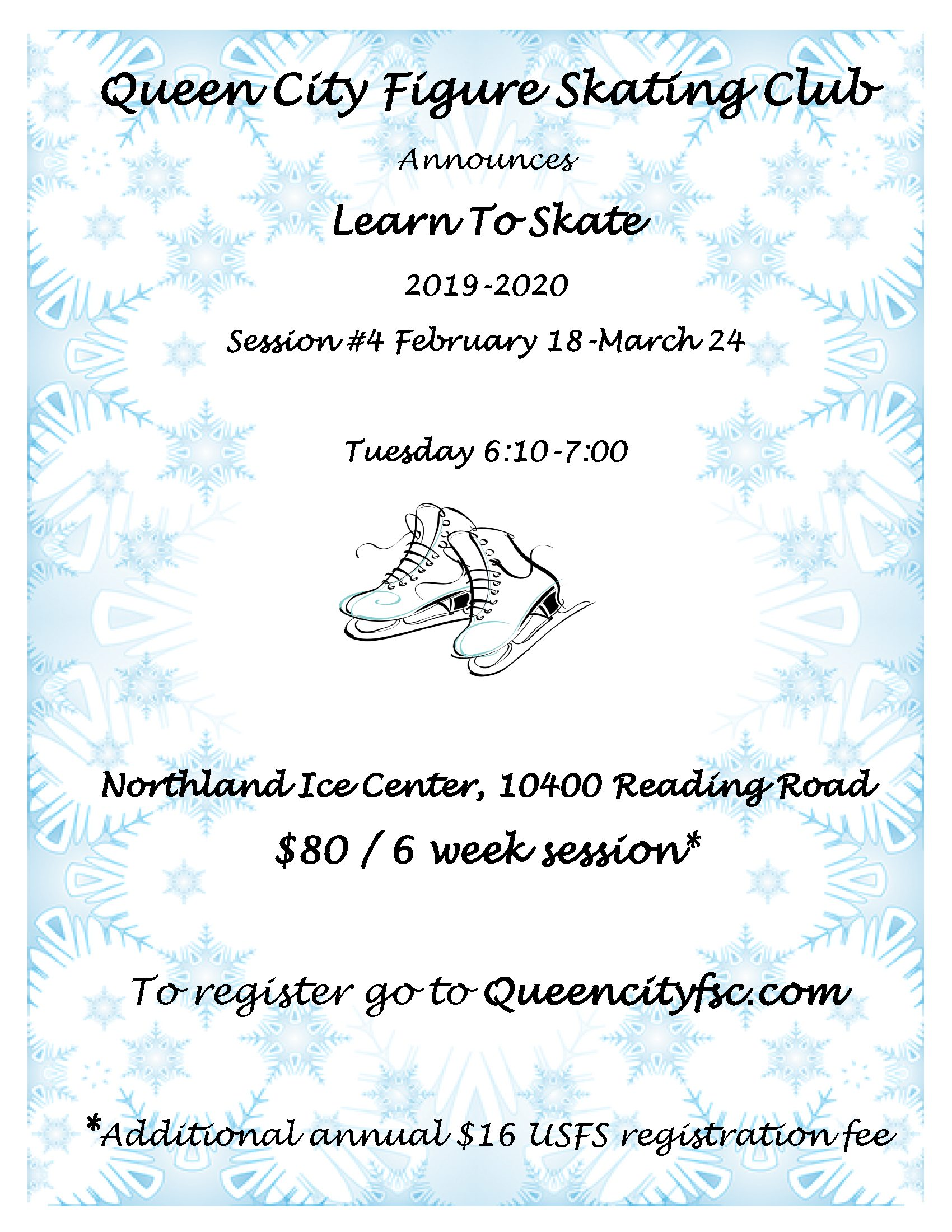 Queen City FSC Learn To Skate 2019-2020 Session #4 Flyer